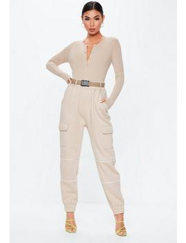 Sand Ribbed Button Front Bodysuit by Missguided