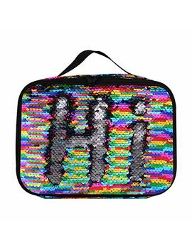 Insulated Mermaid Lunch Box, Reversible Sequin Flip Color Change Fashion Lunch Tote, Perfect For Working Women Or Kids (Rainbow001) by Pojo Tech