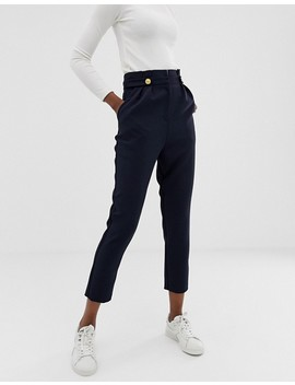 Asos Design   Pantalon Plissé Coupe Fuselée à Boutons Style Militaire by Asos Design