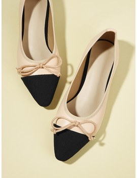 Solid Bow Tie Ballet Flats by Shein