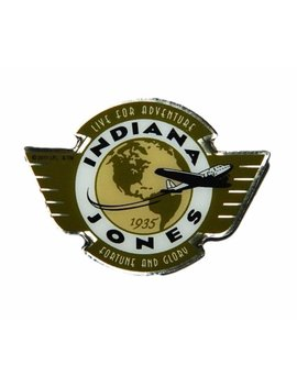 """Indiana Jones Global Earth And Plane 1"""" Wide Metal Enamel Pin Costume Accessory by Etsy"""