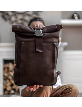 Brown Leather Backpack Women, Camera Backpack, 17 Inch Laptop Bag, Roll Top Backpack by Etsy