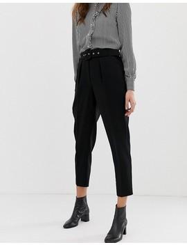 Oasis   Pantalon Fuselé Avec Ceinture   Noir by Oasis