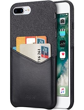 Lopie Cover I Phone 8 Plus / 7 Plus, [Sea Island Cotton Series] Custodia I Phone 8 Plus / 7 Plus [Tessuto E Vera Pelle] [Porta Carta Di Credito] Wallet Shell Per Apple I Phone 7 Plus / 8 Plus   Nero by Lopie