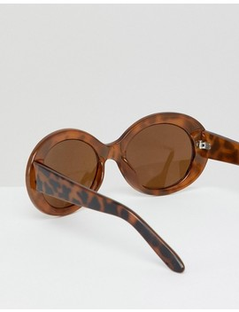 Monki Tortoise Oval Sunglasses by Monki