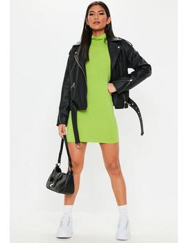 Neon Green Roll Neck Bodycon Mini Dress by Missguided