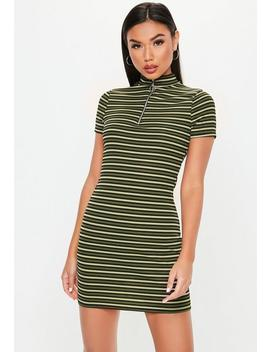 Khaki High Neck Bodycon Zip Front Dress by Missguided