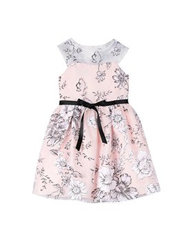 Pippa & Julie Girls' Floral Dress With Illusion Neckline by Pippa & Julie