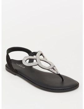Black Rhinestone T Strap Sandal (Wide Width) by Torrid