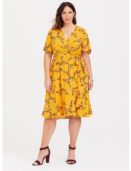 Yellow Floral Challis Skater Dress by Torrid