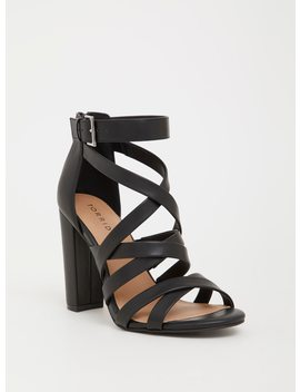 Black Faux Leather Strappy Heel (Wide Width) by Torrid