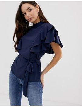 Asos Design Belted High Neck Top With Ruffle Sleeves by Asos