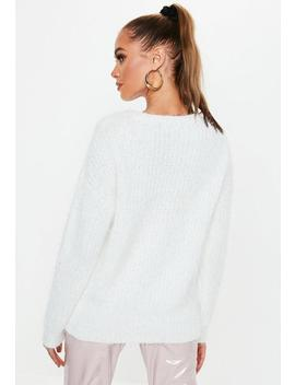 White Crew Neck Fluffy Boyfriend Sweater by Missguided