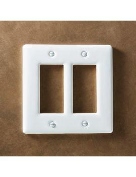 White Ceramic Double Gfci Plate by Crate&Barrel