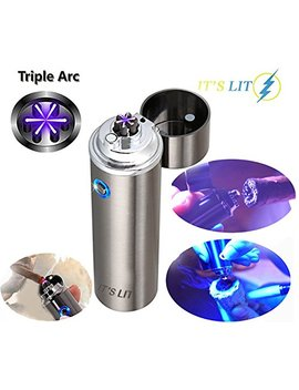 Triple Plasma Lighter  Electric Triple Arc Lighter  New Flat Surface Wide Arc Design For Pipes Cigars And More  Windproof Electric Lighter  Usb Rechargeable  Cable, Gift Box And Warranty Card Included by It's Lit