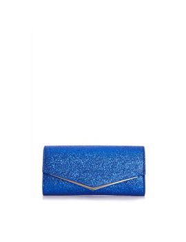 Quiz   Blue Glitter Clutch Bag by Quiz