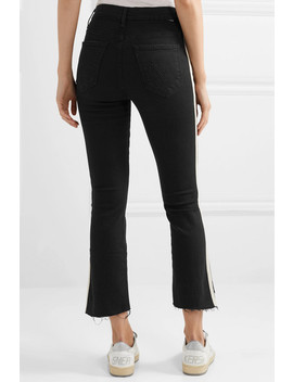 The Insider Crop Frayed Striped High Rise Flared Jeans by Mother