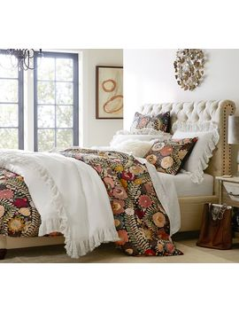 Chesterfield Upholstered Bed, Queen, Performance Twill Cream by Pottery Barn