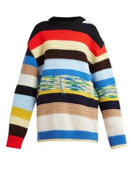 Stripe Intarsia Wool Blend Sweater by Calvin Klein 205 W39 Nyc