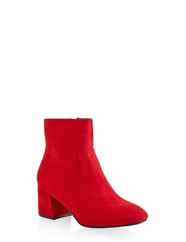 Side Zip Block Heel Booties by Rainbow