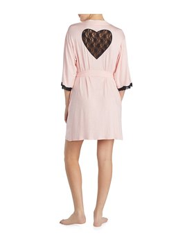 Lace Heart Inset Wrap Robe by Betsey Johnson