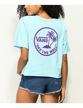 Vans Circle Palm Blue Crop T Shirt by Vans