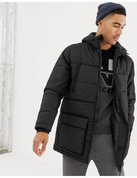 Nicce Long Line Puffer Jacket In Black With Hood by Nicce