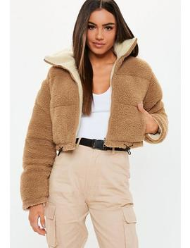 Tan Reversible Crop Borg Puffer Jacket by Missguided