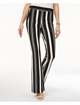 I.N.C. Curvy Striped Ponté Knit Bootcut Pants, Created For Macy's by Inc International Concepts