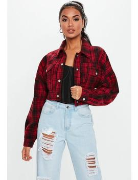 Red Checked Cropped Trucker Jacket by Missguided