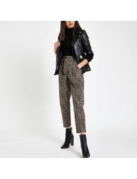 Brown Leopard Print Paperbag Jeans by River Island