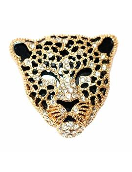 Navachi 18k Gold Plated White Crystal Enamel Leopard Head Brooch Pin by Navachi