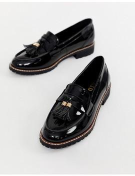 Raid Maya Black Patent Chunky Flat Loafers by Raid