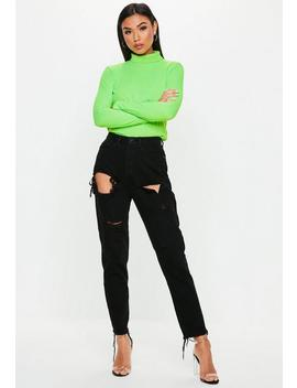 Black Riot High Rise Ripped Denim Mom Rigid Jeans by Missguided
