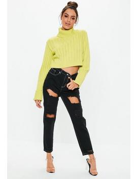 Black Riot Ripped Contrast Stitch Rigid Jeans by Missguided