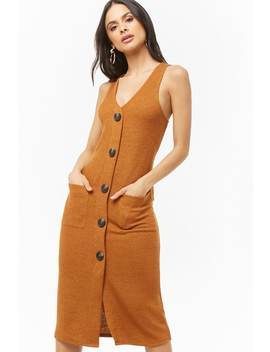 Ribbed Sleeveless Button Front Midi Dress by Forever 21