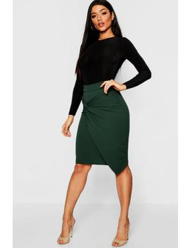 Knot Detail Wrap Midi Skirt by Boohoo
