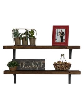 Industrial Grace Simple Bracket Shelves, Set Of 2 Dark Walnut by Del Hutson Designs