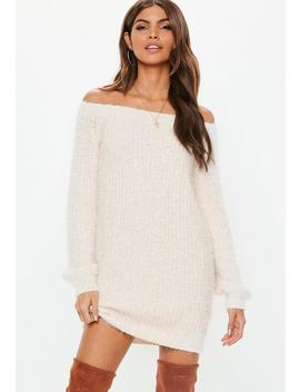 White Chenille Fluffy Bardot Sweater Dress by Missguided