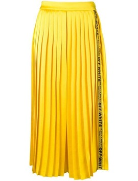 Logo Tape Pleated Midi Skirt by Off White