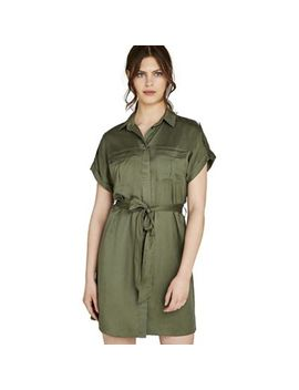 Apricot   Khaki Utility Button Down Shirt Dress by Apricot