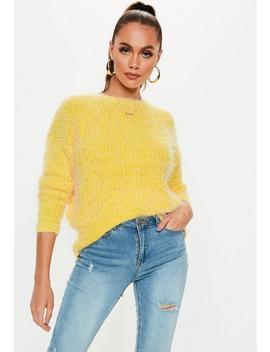 Yellow Crew Neck Fluffy Boyfriend Sweater by Missguided
