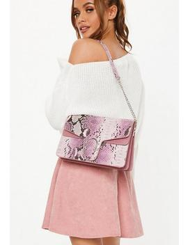 Pink Faux Croc Shoulder Bag by Missguided