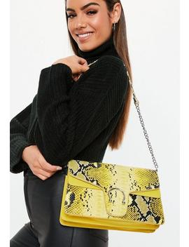 Yellow Faux Croc Shoulder Bag by Missguided