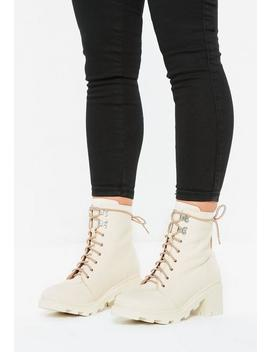 Cream Canvas Hiking Boots by Missguided