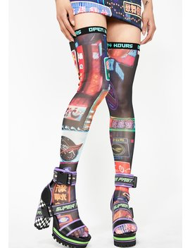 Midnight City Thigh High Socks by Current Mood