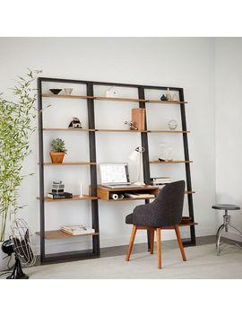 Ladder Shelf Desk + Wide Bookshelf Set (Sand/Stone) by West Elm