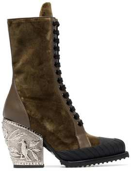 Brown Rylee 90 Baroque Velvet Lace Up Boots by Chloé