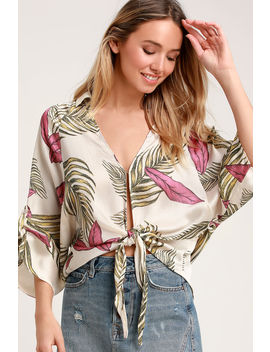 Island Breeze Cream Tropical Print Tie Front Top by Lulus