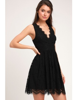 In This Moment Black Lace Sleeveless Skater Dress by Lulus